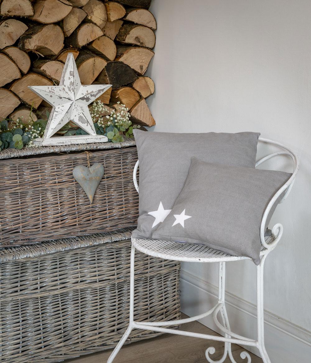 Dove Grey Star Cushion