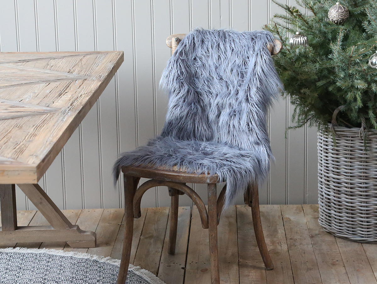 Grey Faux Fur seat cover