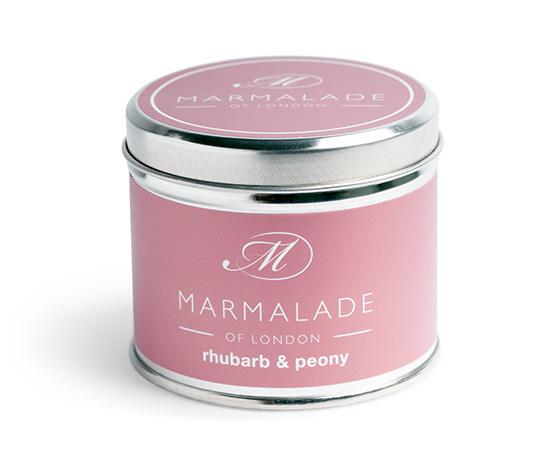 Rhubarb &  Peony Medium Tin Candle