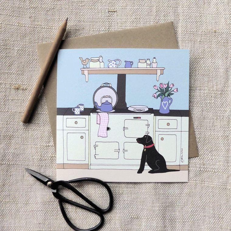 Aga and Black Labrador Card