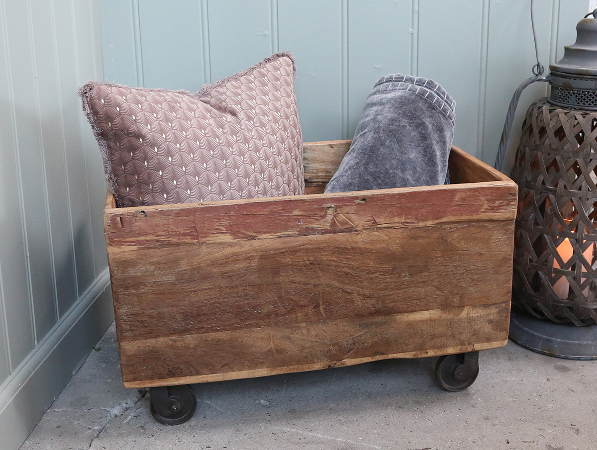 Rustic Log Box On Wheels