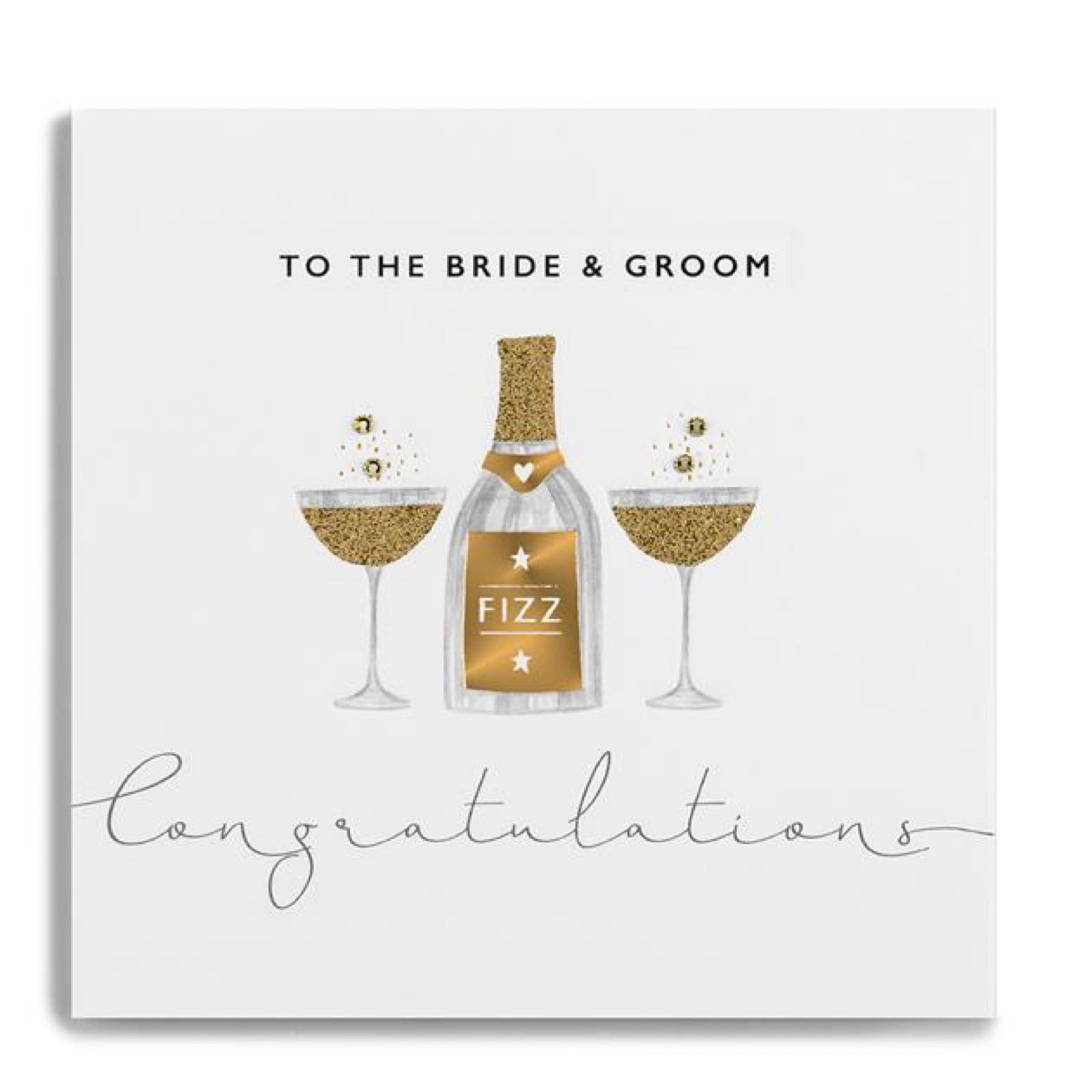 Janie Wilson gold leaf bride and groom card