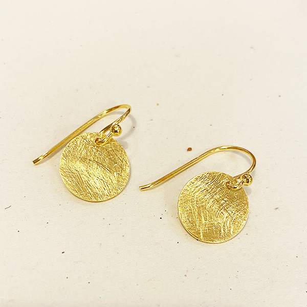BRUSHED GOLD DISK DROP EARRINGS