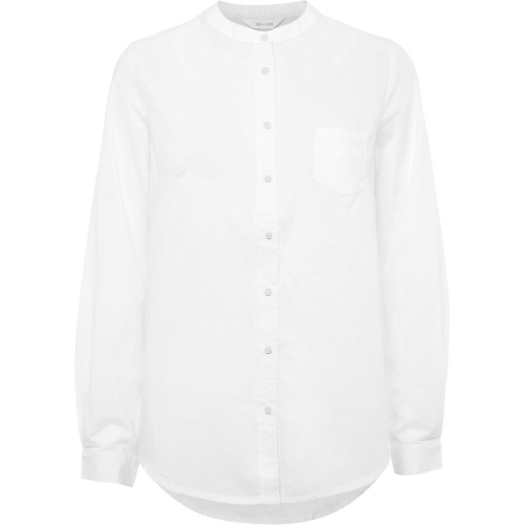 GAI + LISVA WOODIE WHITE SHIRT MANDARIN COLLAR