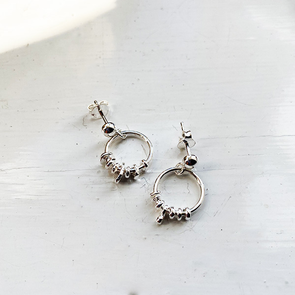 PL-110 SILVER DROP EARRINGS HOOP WITH DETAIL
