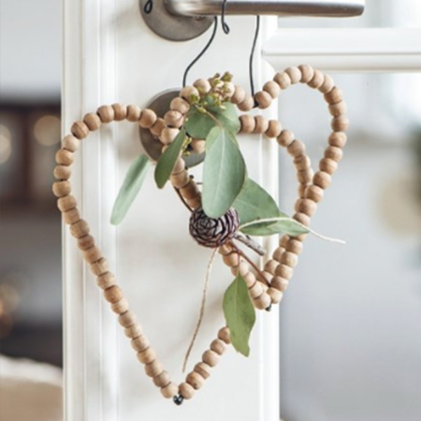 HANGING WOODEN BEADED HEART DECORATION two sizes