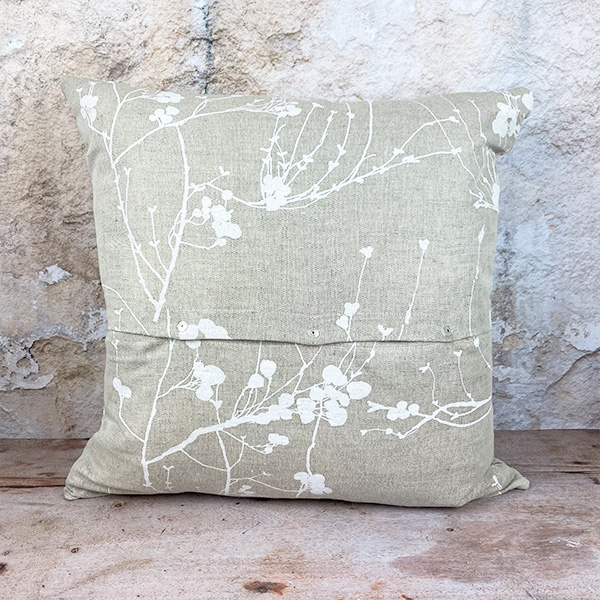 WHITE BRANCHES PRINTED COTTON AND LINEN LARGE SQUARE 55X55 CUSHION