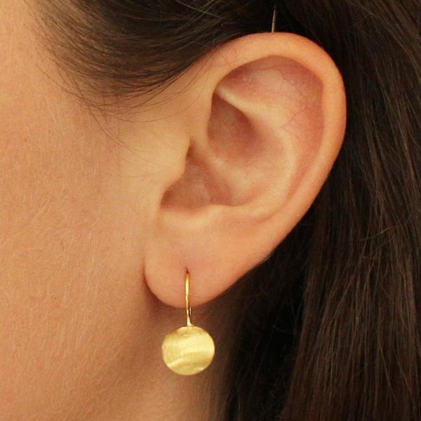 BRUSHED GOLD DROP EARRINGS