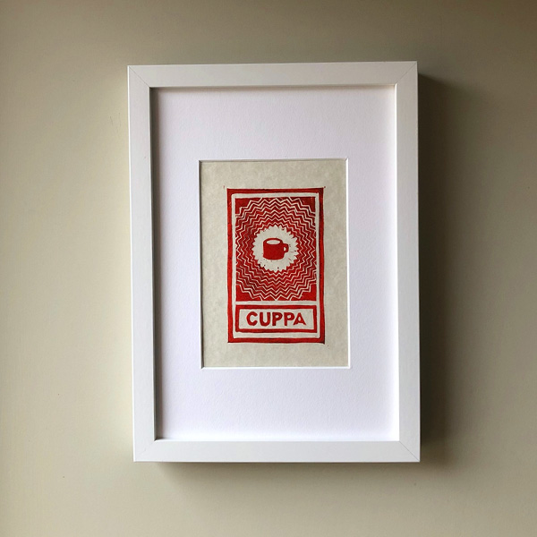 CUPPA LINO AND INK PRINT A5 FRAMED RED