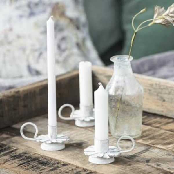 WHITE METAL TAPER CANDLE HOLDER FLOWER