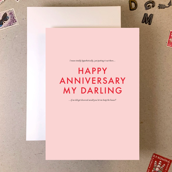 HAPPY ANNIVERSARY RUDE SMALL PRINT GREETINGS CARD