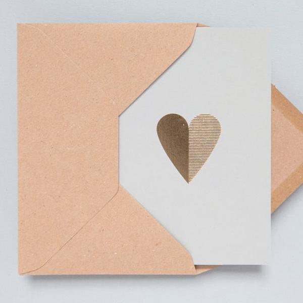 GOLD FOIL HEART GREETINGS CARD