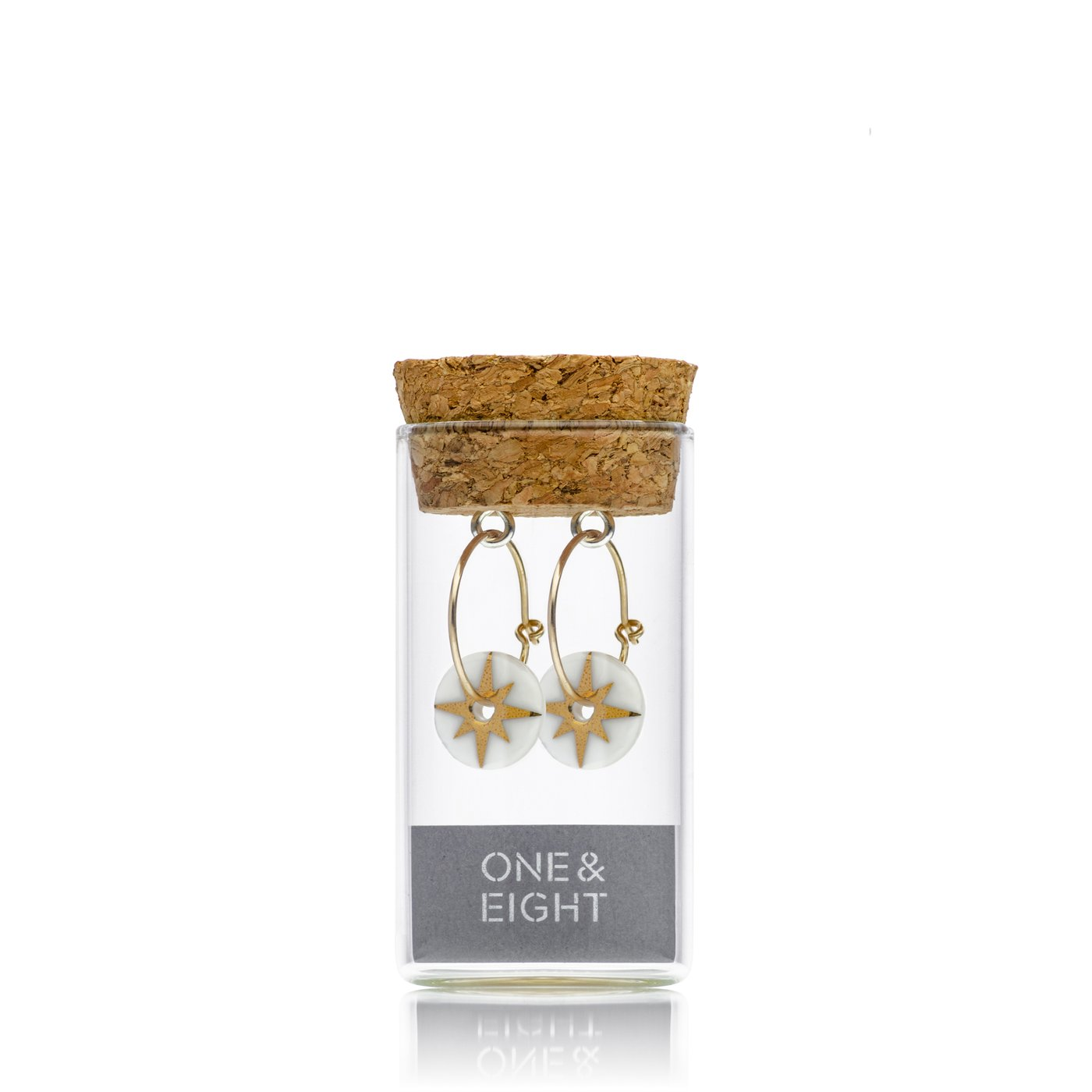 1950 STAR EARRINGS GOLD AND PORCELAIN