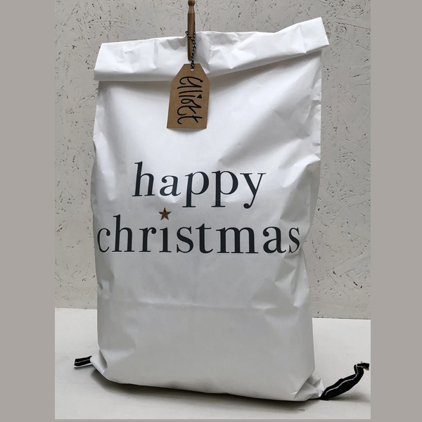CHRISTMAS PAPER SACK WHITE HAPPY CHRISTMAS