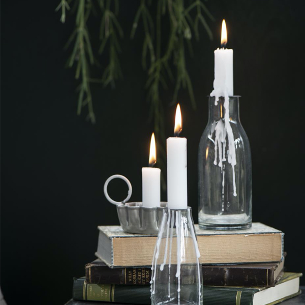 GLASS BOTTLE WITH CANDLE HOLDER LID
