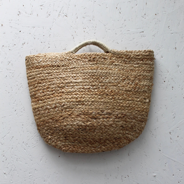 JUTE BASKET NATURAL WITH TWISTED HANDLES SMALL