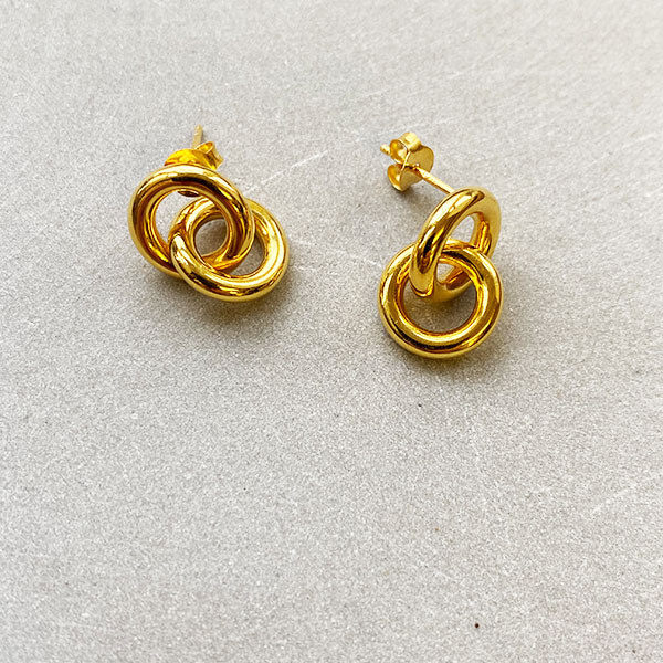 GOLD DOUBLE LOOP DROP EARRINGS STUD BACK