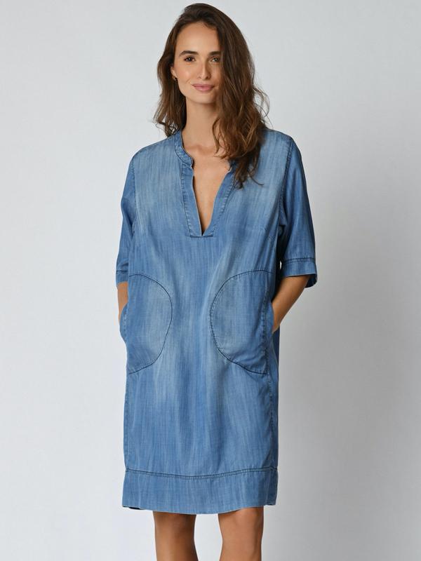 FIVE MALOU TENCEL DRESS BLUE
