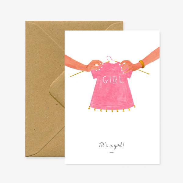 IT'S A GIRL GREETINGS CARD