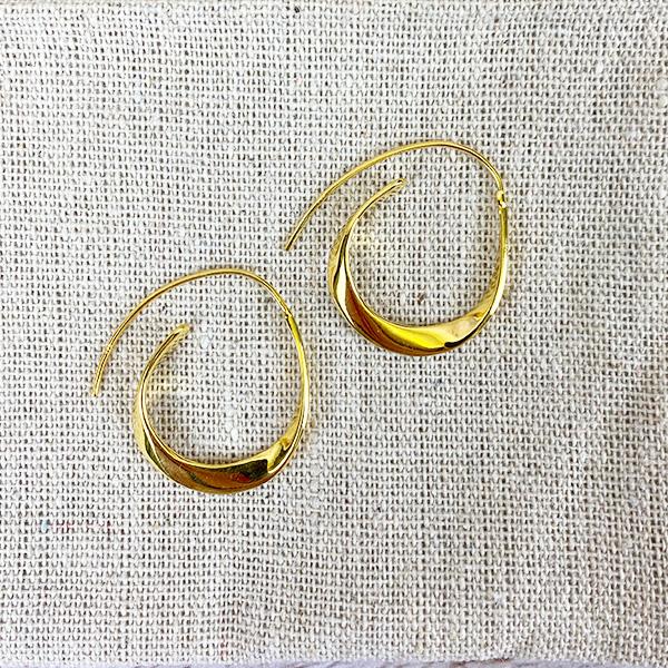 GOLD OVAL DROP HOOP EARRINGS
