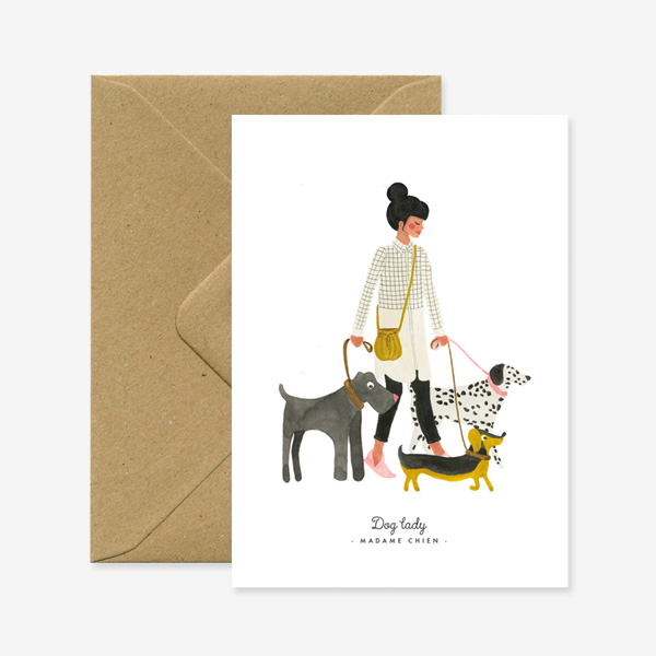 DOG LADY MADAME CHIEN GREETINGS CARD