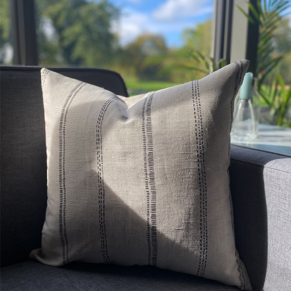 CHARCOAL & NATURAL CUSHION WITH INNER
