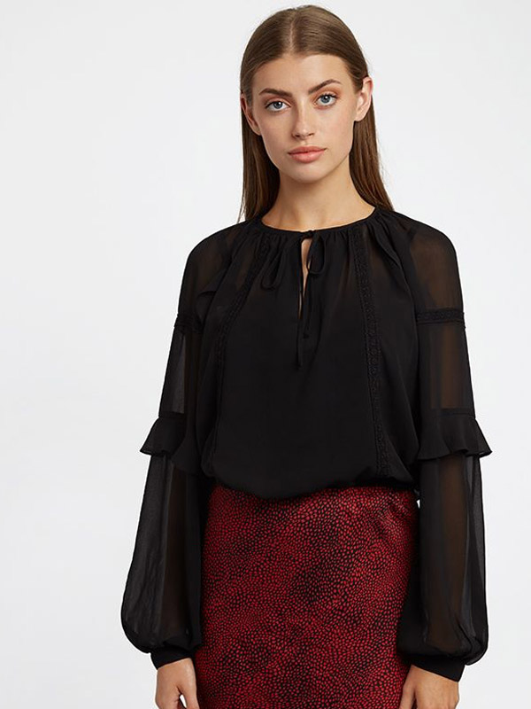 LOUCHE ALBA BLACK BLOUSE {was £49}