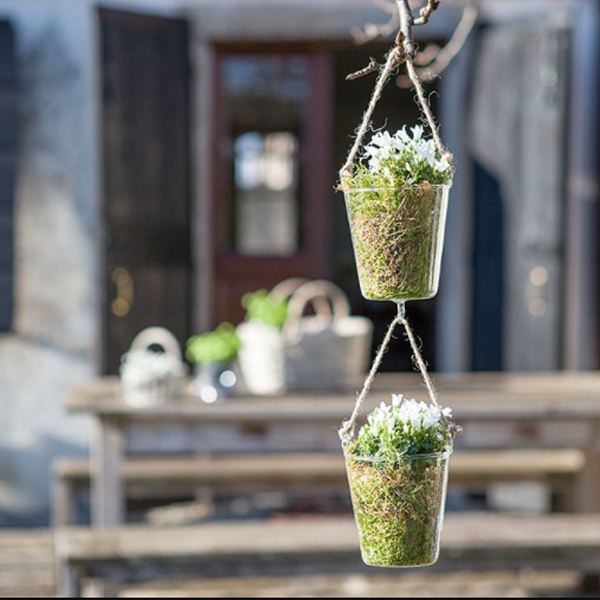 HANGING GLASS VASE WITH HOOK