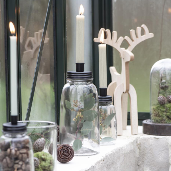 LARGE GLASS AND METAL CANDLE HOLDER BOTTLE