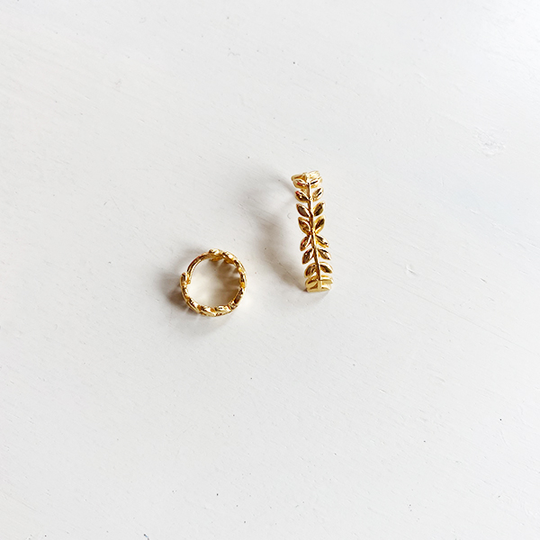 GOLD OLIVE BRANCH CUFF EARRINGS