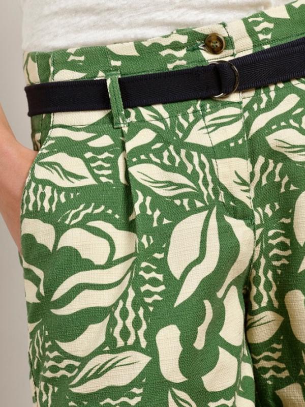 MAT DE MISAINE BANIZA GREEN PRINTED COTTON SHORTS