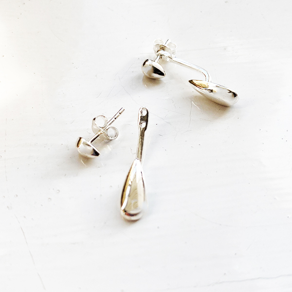 KSE-50 SILVER DROP BACK TEARDROP EARRINGS