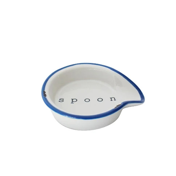 CERAMIC SPOON REST WITH BLUE EDGE