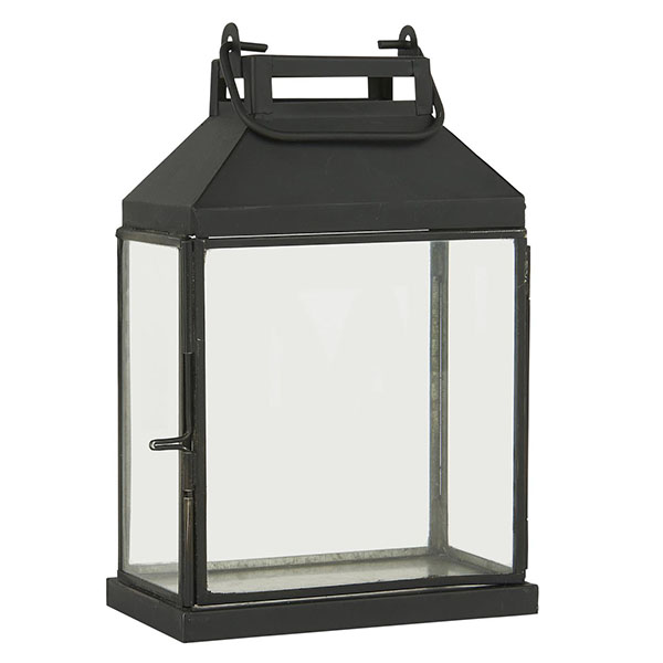 SMALL GLASS AND METAL LANTERN