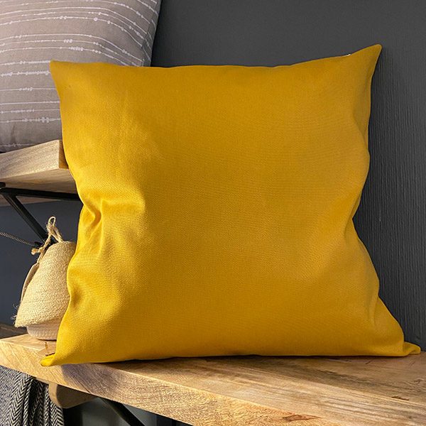 MUSTARD YELLOW CUSHION COTTON {was £40} 50X50