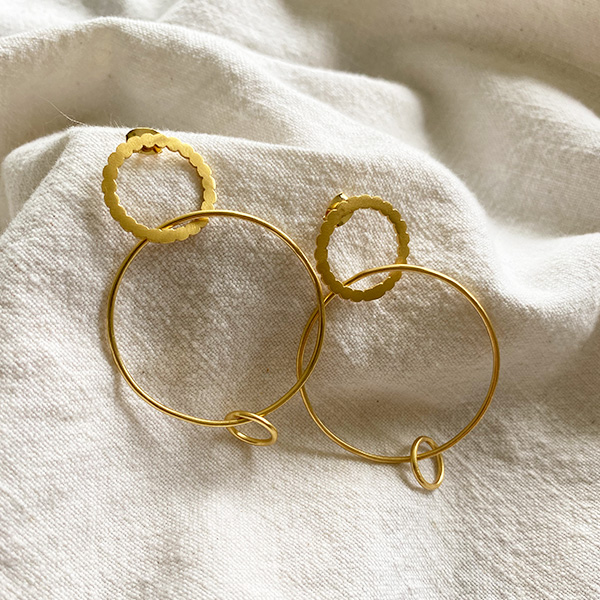 SIRGI GOLD TRIPLE HOOP DROP EARRING