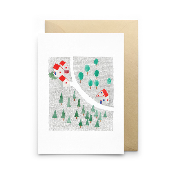 FOREST HOUSES GREETINGS CARD