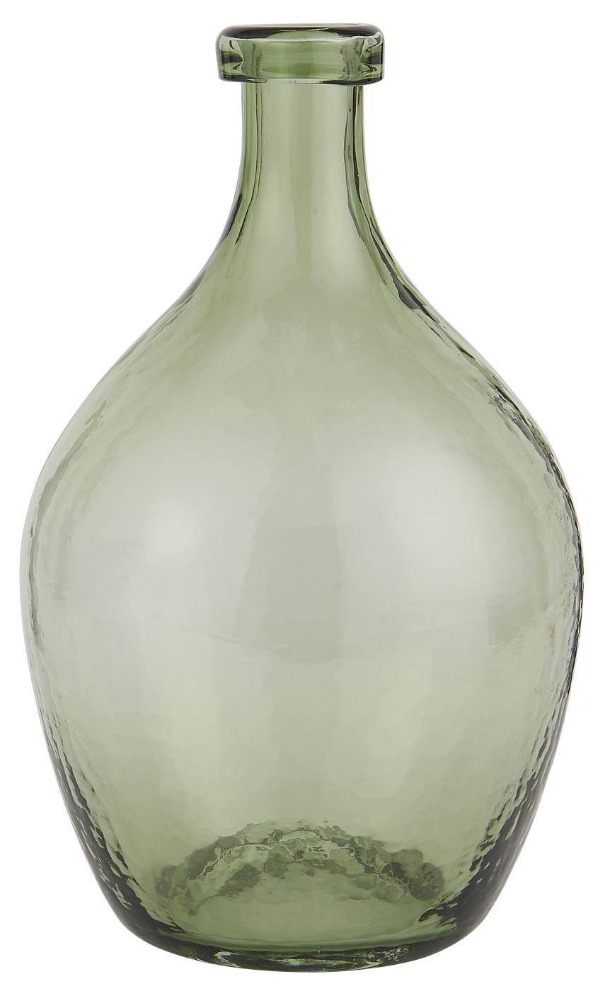 GLASS BALLOON GREEN VASE HAND BLOWN