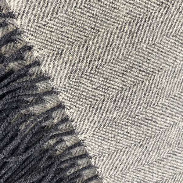 HERRINGBONE WEAVE BLACK & PALE GREY MERINO WOOL THROW