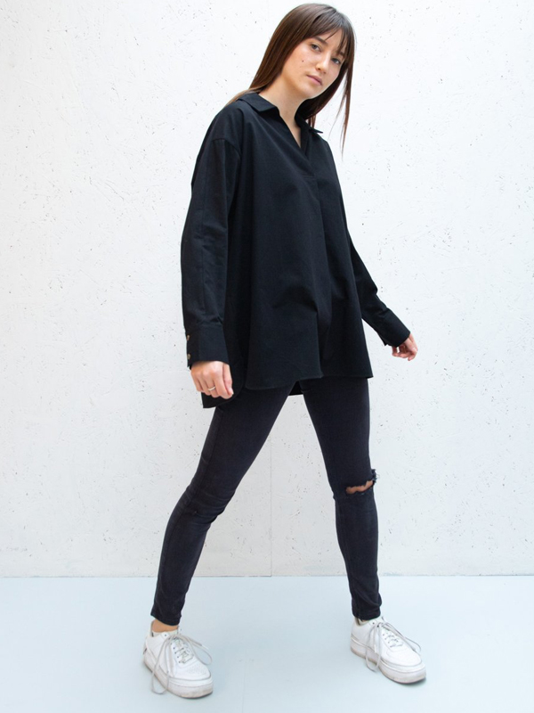 CHALK BLACK COTTON SOPHIE SHIRT