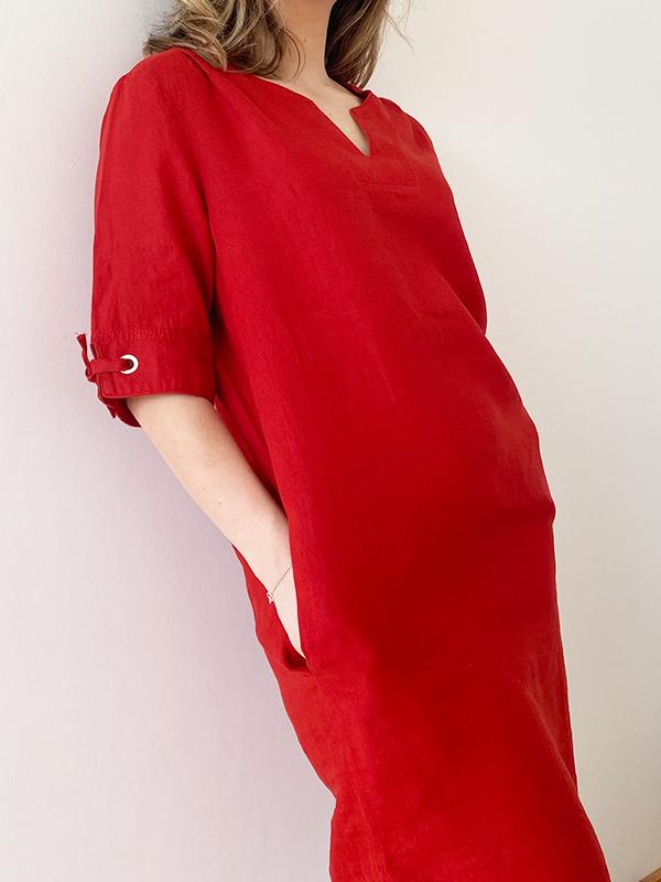 MAT DE MISAINE RIZANA LINEN DRESS GRENAT RED