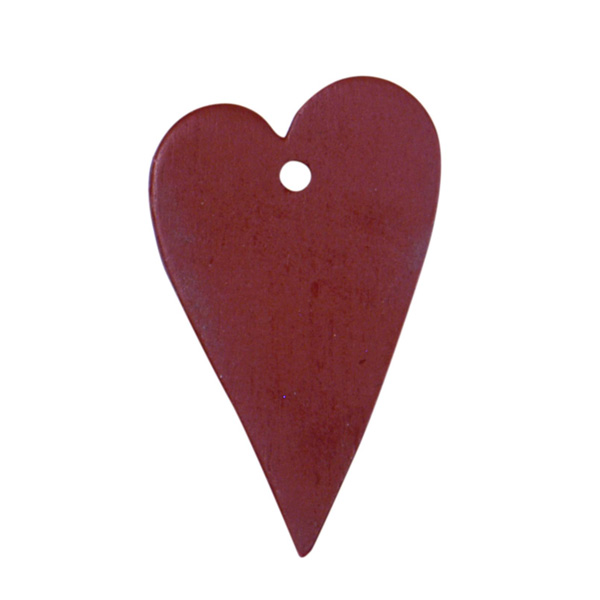WOODEN RED HEART DECORATION