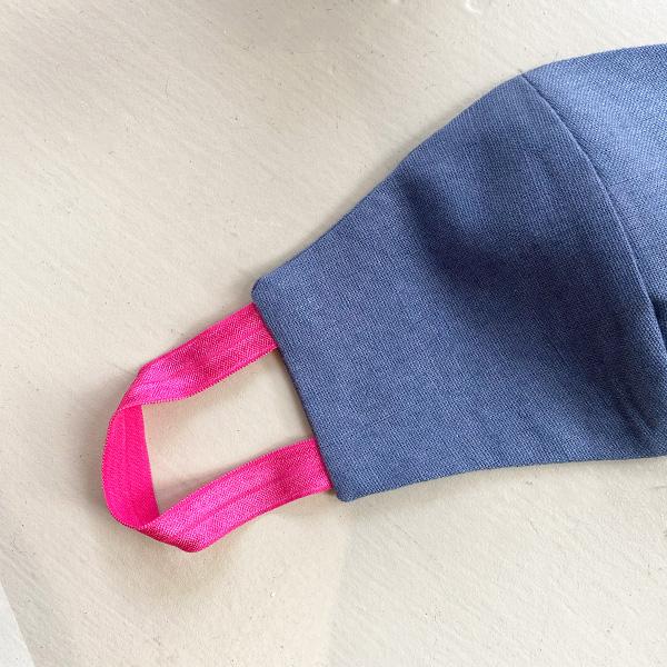 DENIM BLUE & PINK STRAPS REUSABLE COTTON LINEN FACE MASK