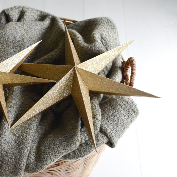 GOLD SPARKLE PAPER STAR DECORATION PACK OF TWO