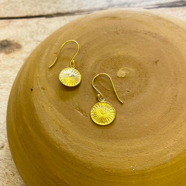 GOLD DROP DISK EARRINGS JE91-G