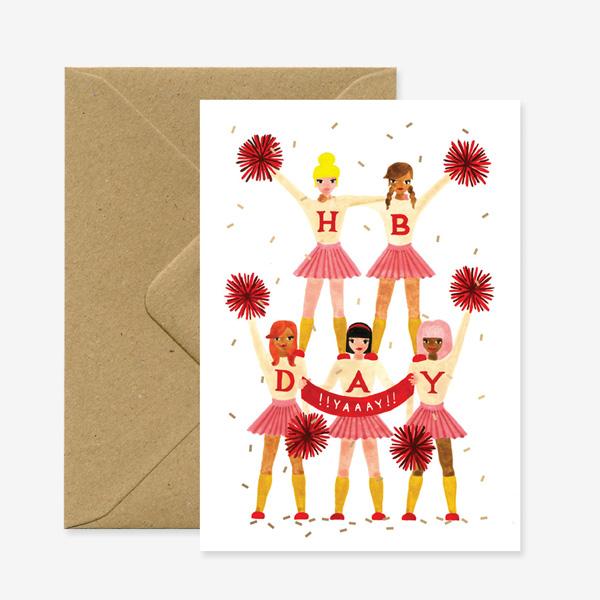 CHEERLEADER BIRTHDAY GREETING CARD