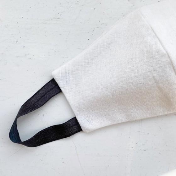 WHITE & CHARCOAL STRAPS REUSABLE COTTON LINEN FACE MASK