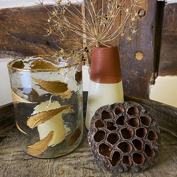 BRASS & GOLD LEAVE GLASS VOTIVE