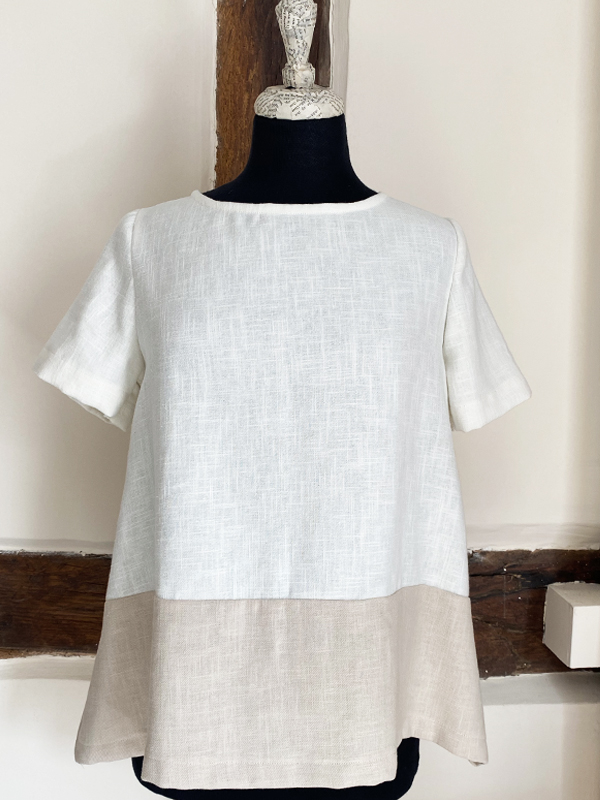 TUSK TWO TONE LINEN COTTON TOP CHALK & WHITE {was £75}