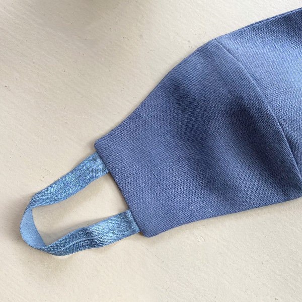 DENIM BLUE & STEEL BLUE STRAPS REUSABLE COTTON LINEN FACE MASK